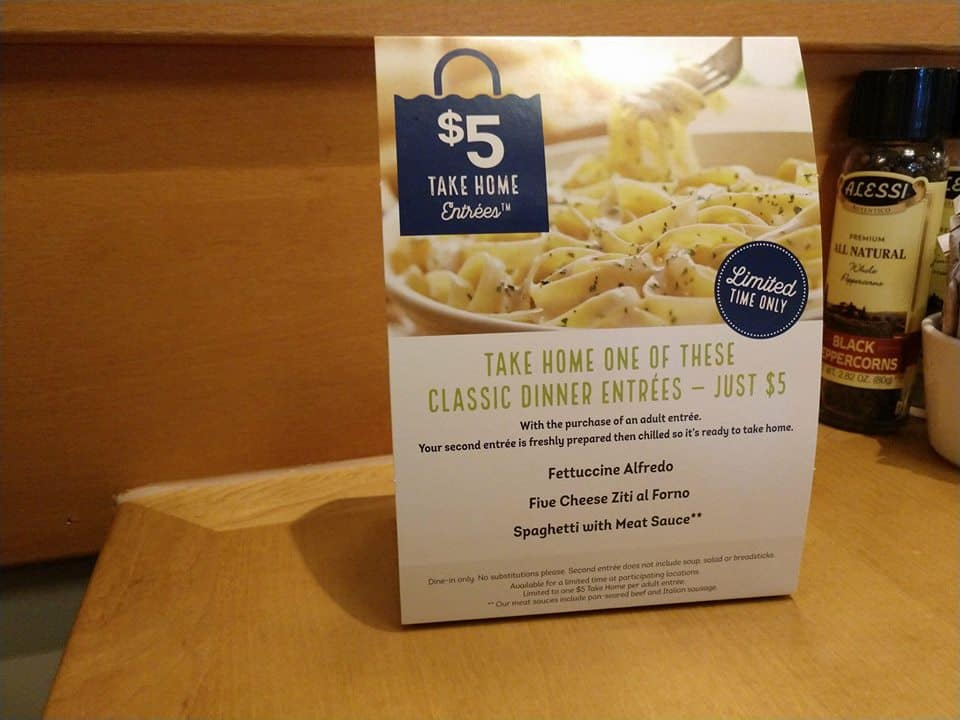 Olive Garden Specials $5 Take Home Entree