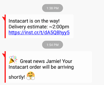 instacart shopper texts when they leave the store
