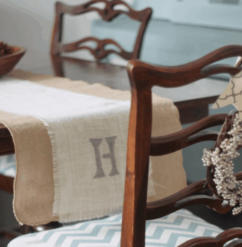 DIY Fall Decor Monogrammed Burlap Table