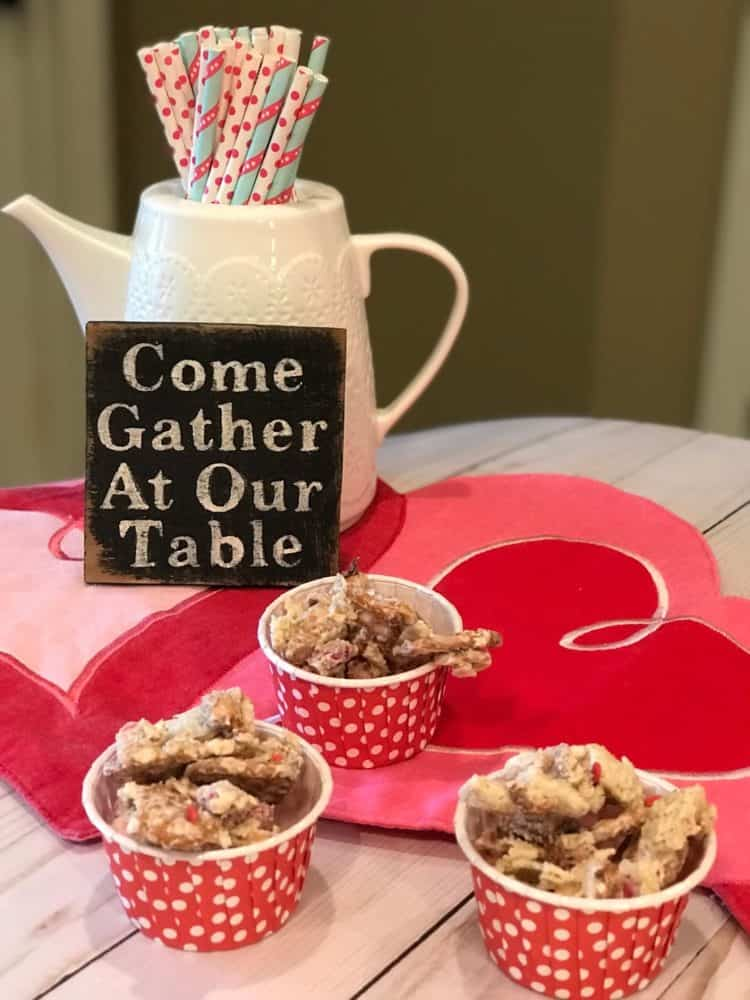 White Trash Recipe Candy in Small Cups at Valentine Table