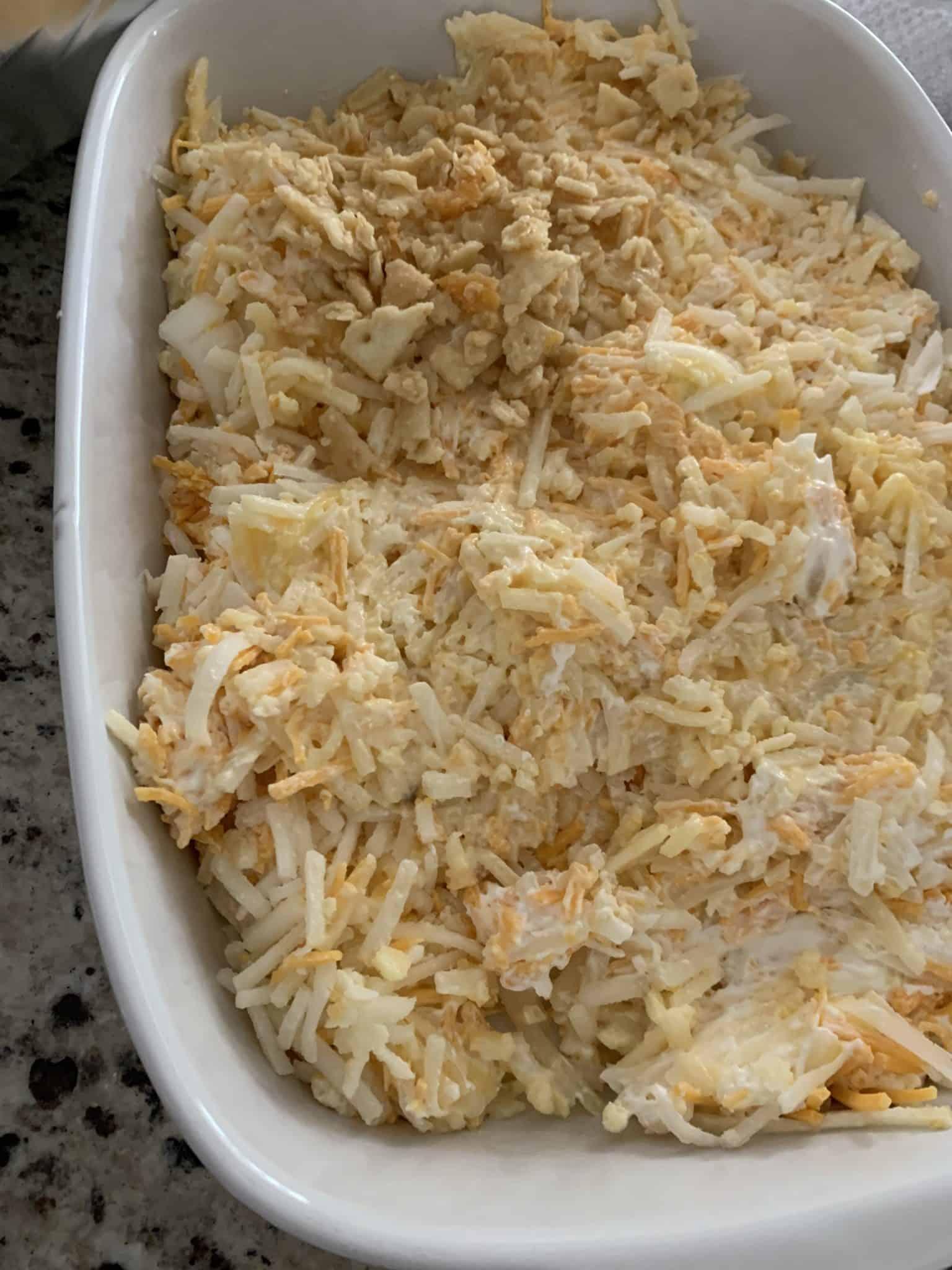 Hashbrown Casserole in Baking Dish