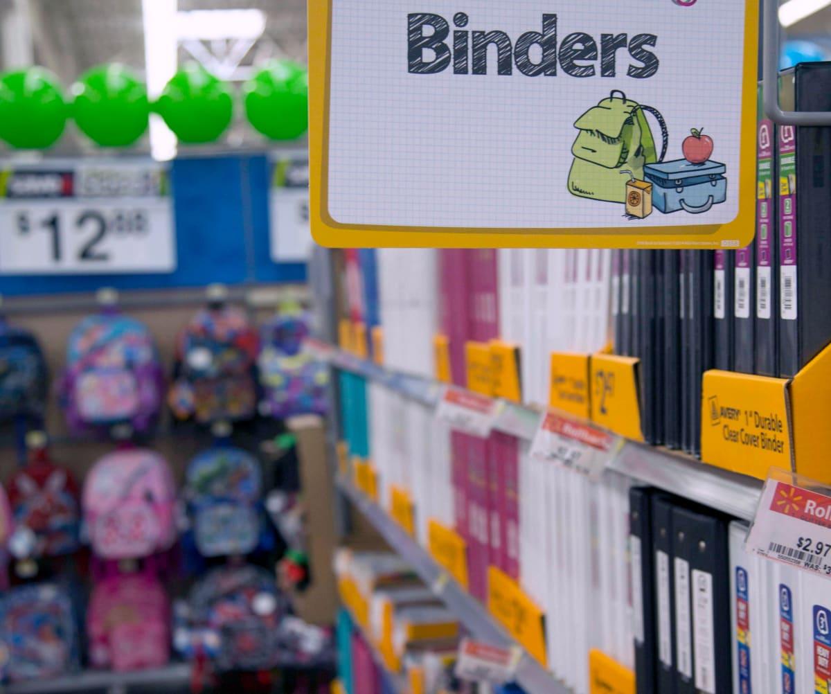 walmart binders on shelf