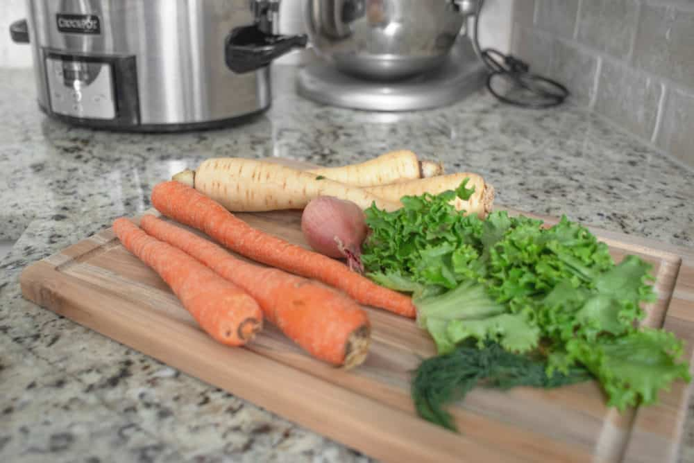 prepping root vegetables for cooking