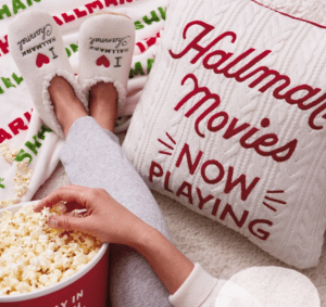 Hallmark Movies Schedule Popcorn Slippers and Pillow