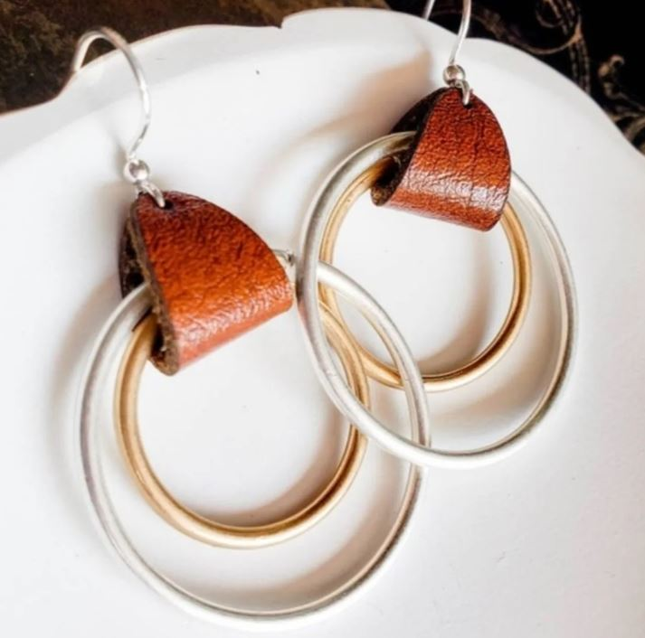 Leather Accent Earrings