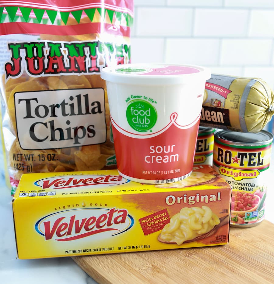 Rotel Dip Ingredients on Counter