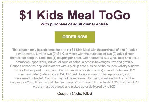 1 Kids Meals At Olive Garden Are Back And Yes It Works With Curbside Pickup Great Way To Save On Dinner Out