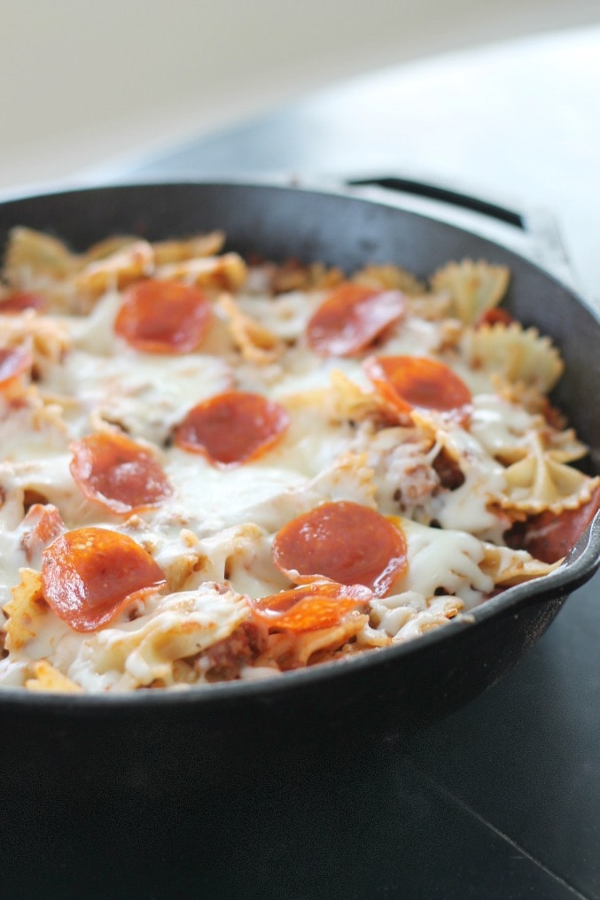 Pasta Bake Recipe in Skillet with Pepperoni