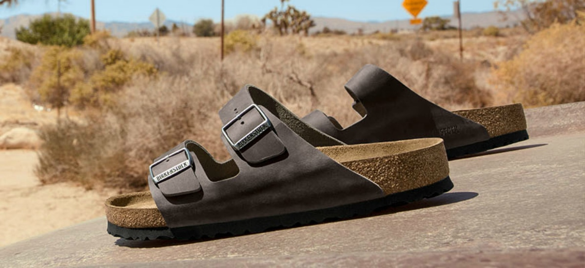 brown sandals in desert
