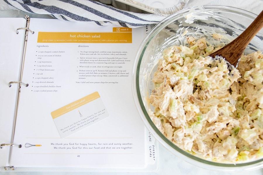 Hot Chicken Salad Recipe and Freezer Card