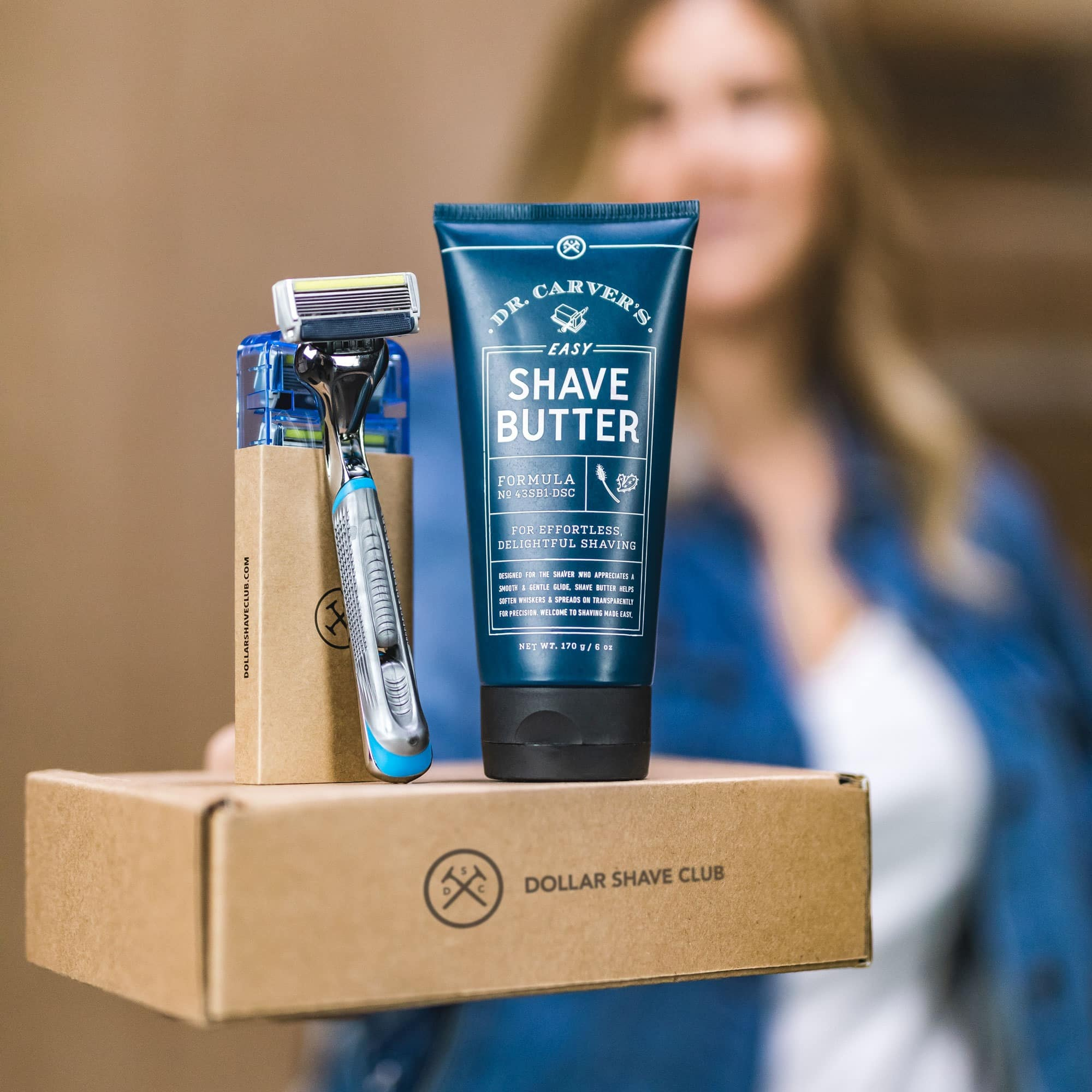 woman holding shave products