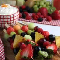 Rainbow Fruit Kabobs and Fruit Dip