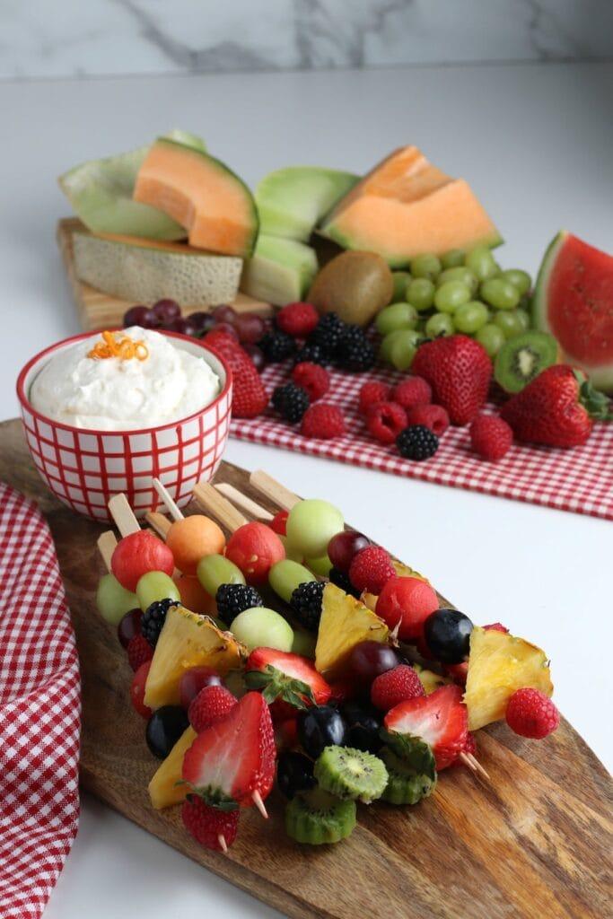 Fruit Kabobs and Fruit Kabob Dip