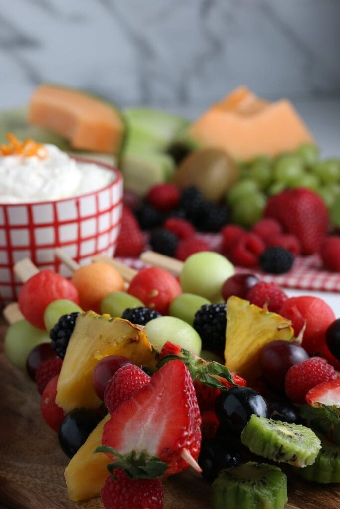 Fruit Kabobs and Dip in Background