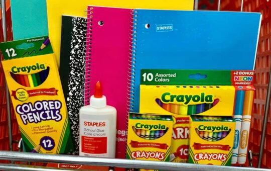 school supplies in cart