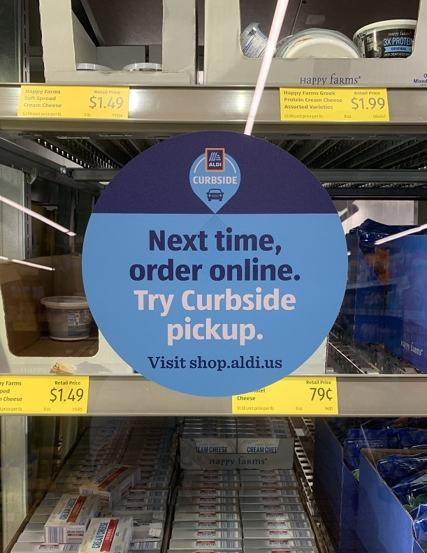 aldi curbside pickup in store circular signs