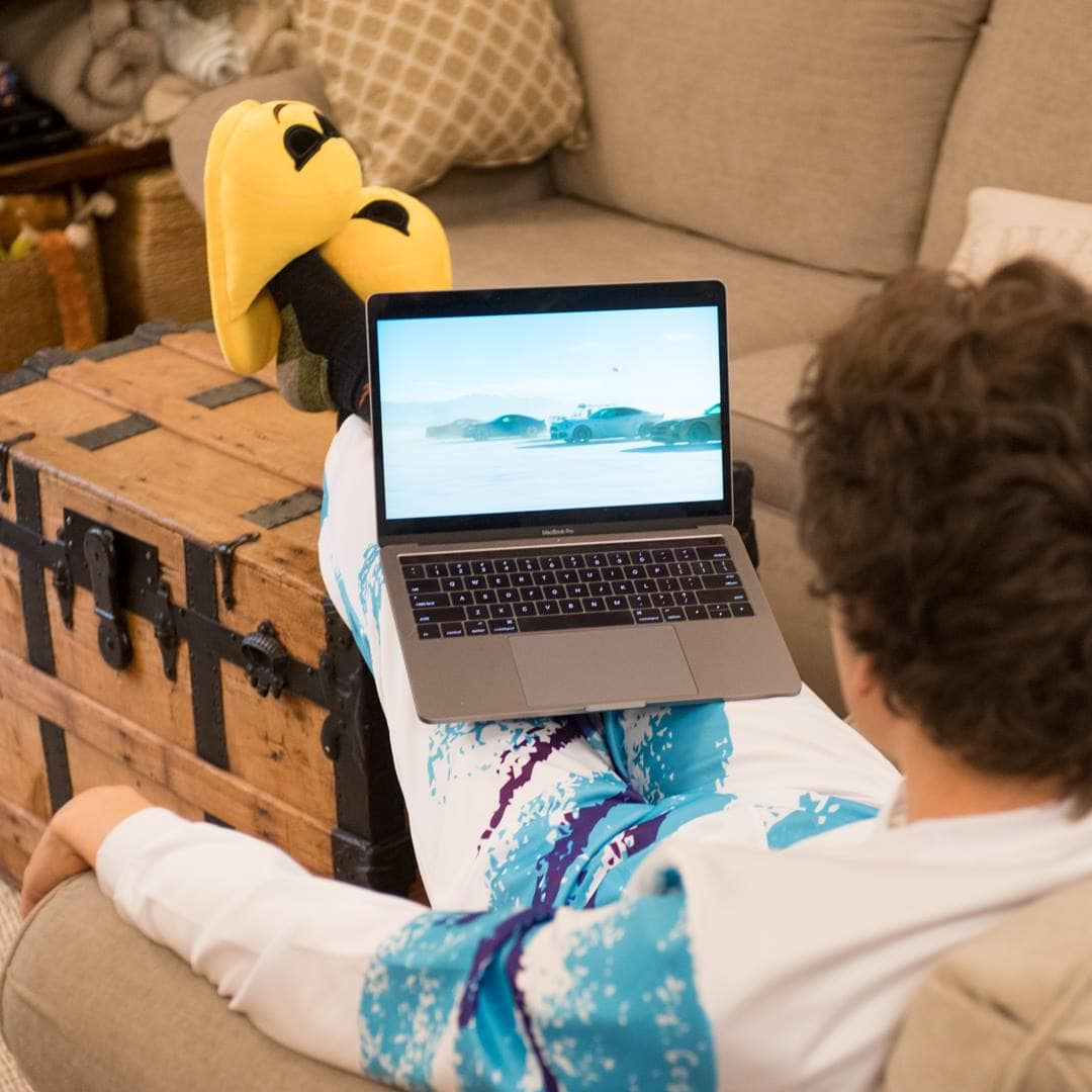 boy watching laptop