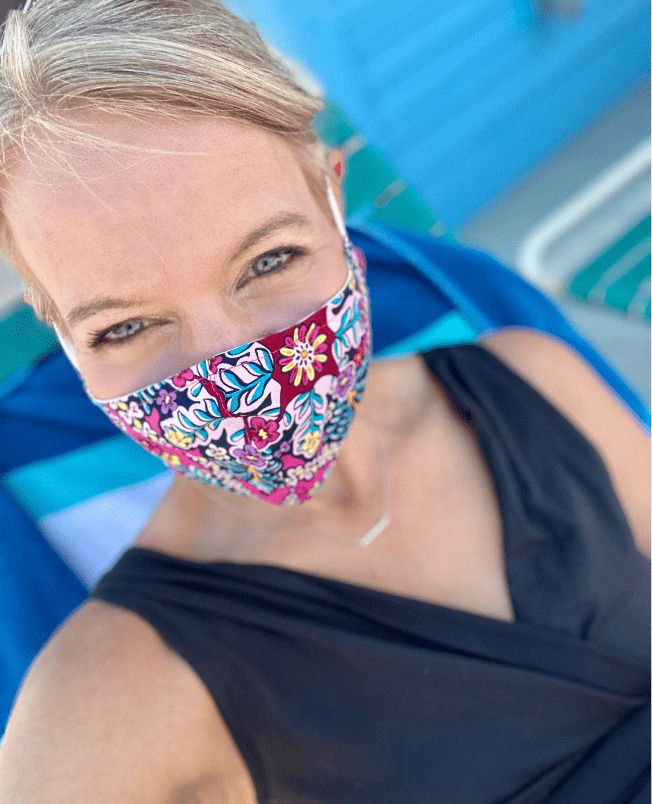 woman wearing a cleaned reusable face mask