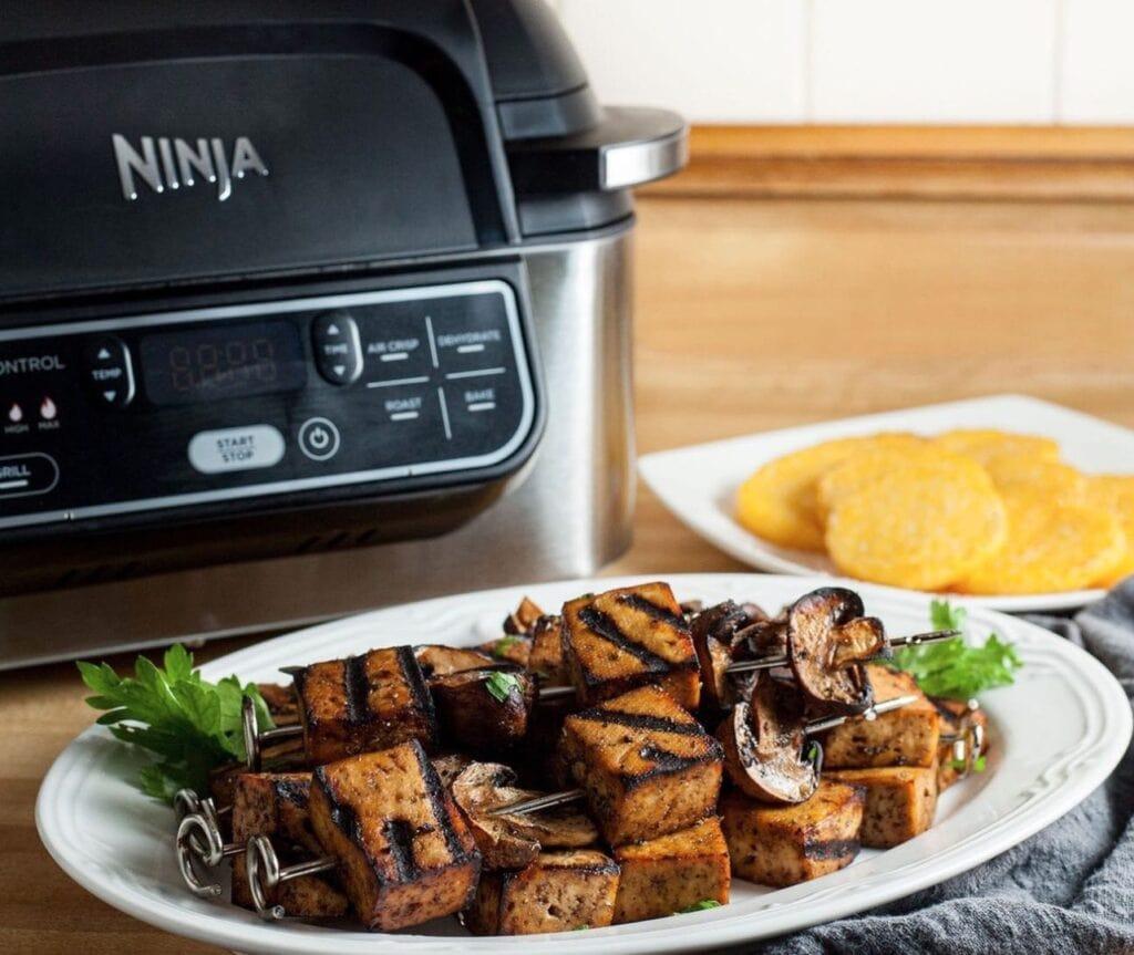 Ninja foodi sale with skewers on plate