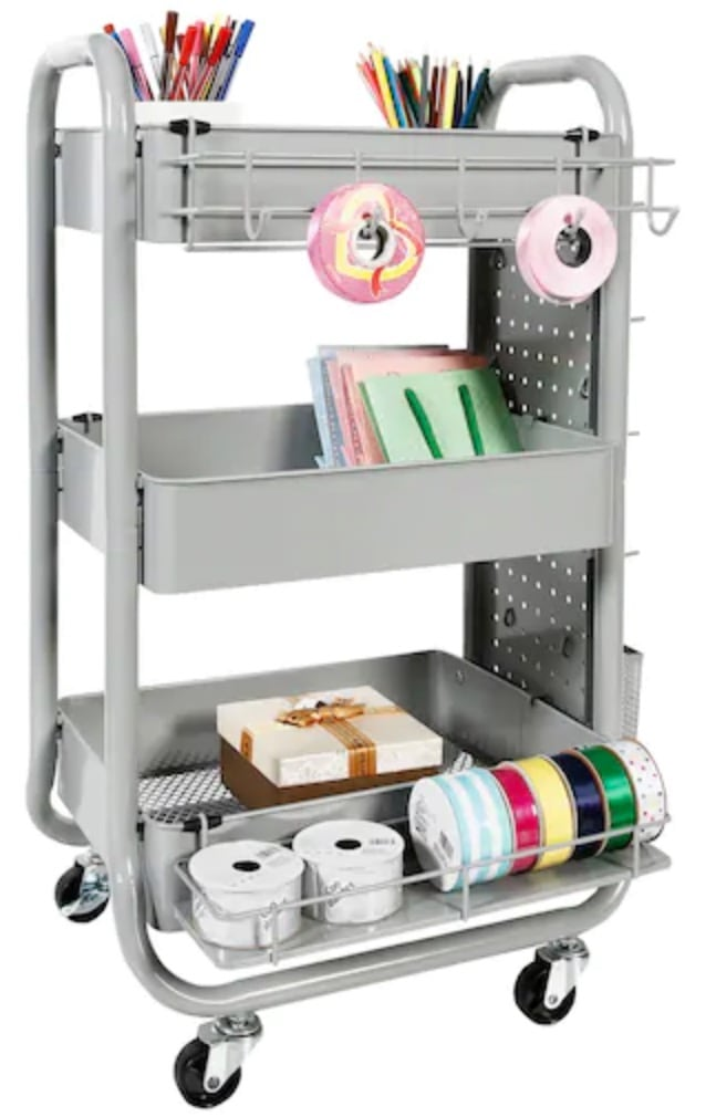 Virtual school rolling cart for organization