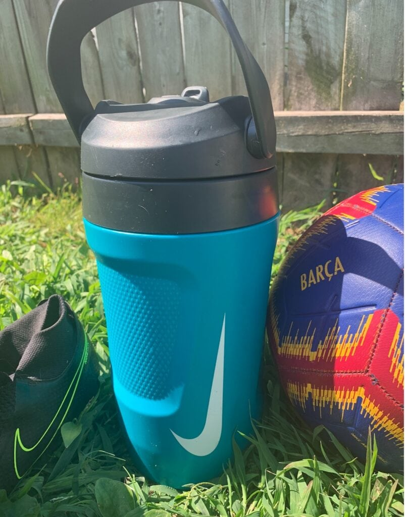 Nike Fuel Water Jug with soccer cleats and ball