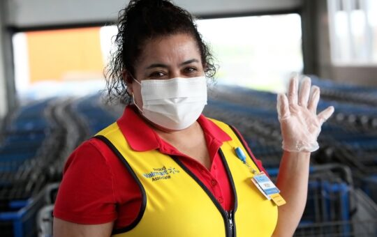 Walmart Hours Associate with Mask and Gloves
