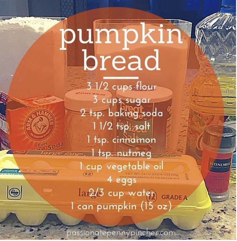 pumpkin bread recipe and ingredients
