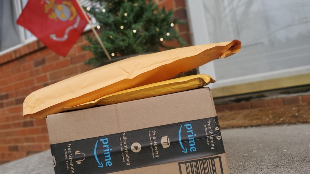 Amazon Subscribe & Save Boxes on a Porch