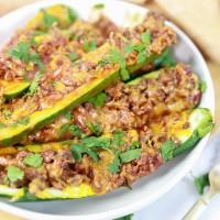 Enchilada Style Stuffed Zucchini  (Lower Carb Too!)