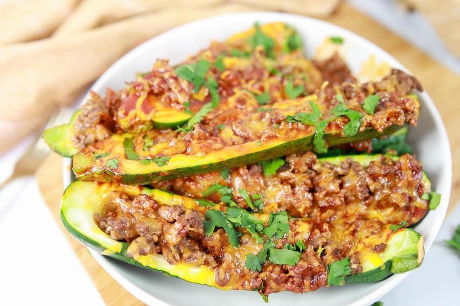 Enchilada Stuffed Zucchini