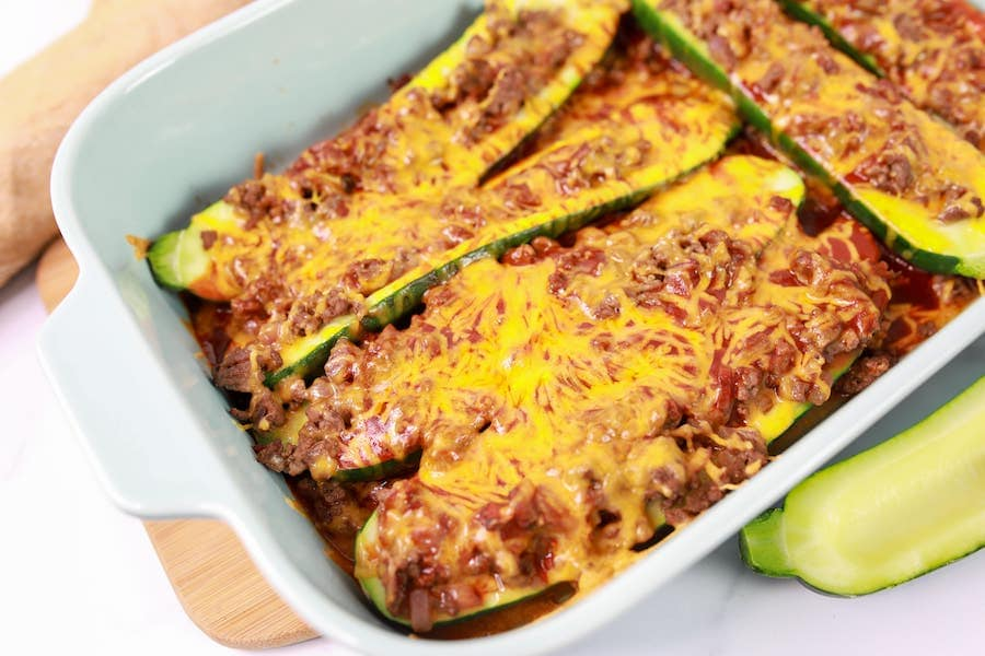Beef Enchilada Stuffed Zucchini Recipe in Baking Dish