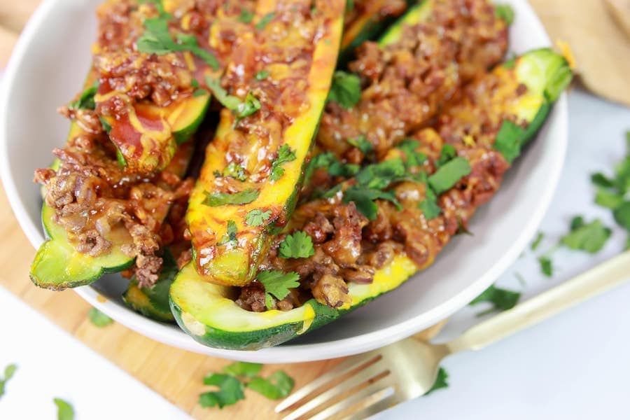 Enchilada Style Stuffed Zucchini Finished in Bowl