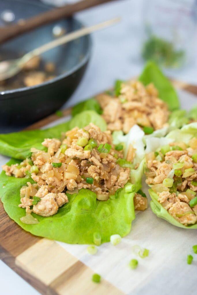 Chicken Lettuce Wrap Mixture on Lettuce Leaf