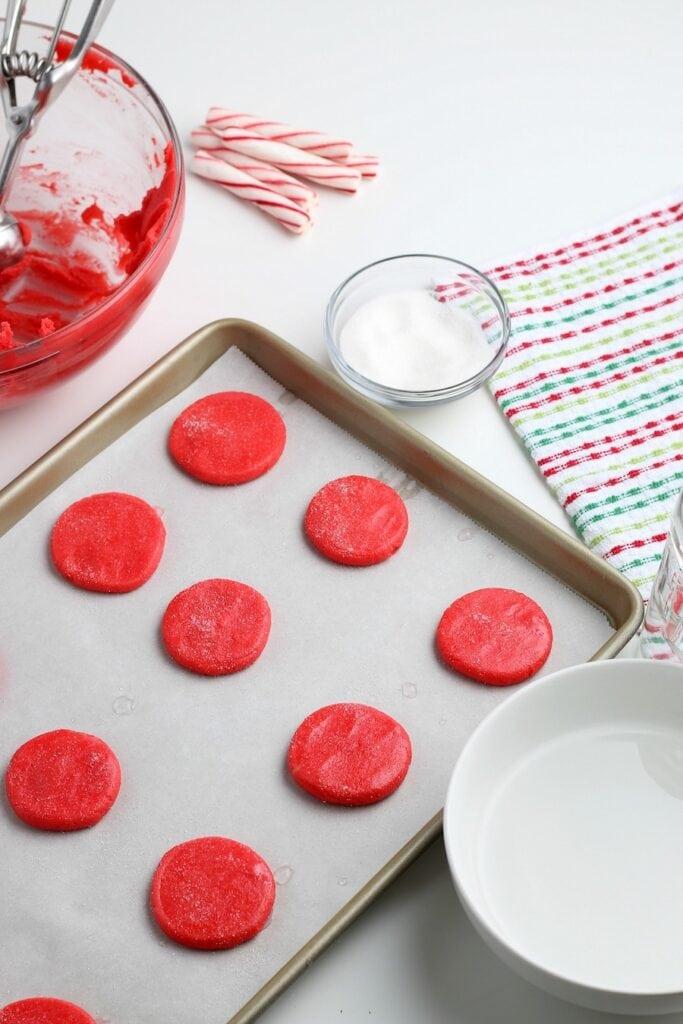 baking sheet red cookies