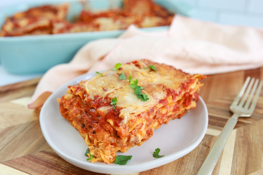 Easy Lasagna Recipe on Plate
