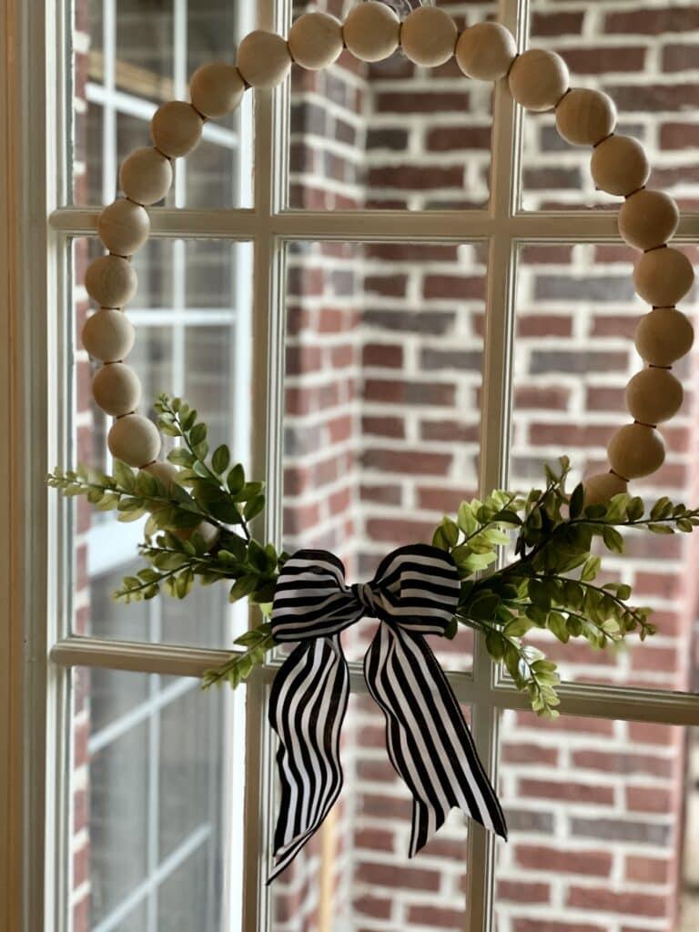 Farmhouse Wood Bead Wreath