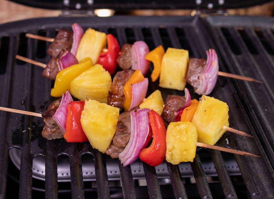 Hawaiian Beef Kabobs Cooking on the Grill