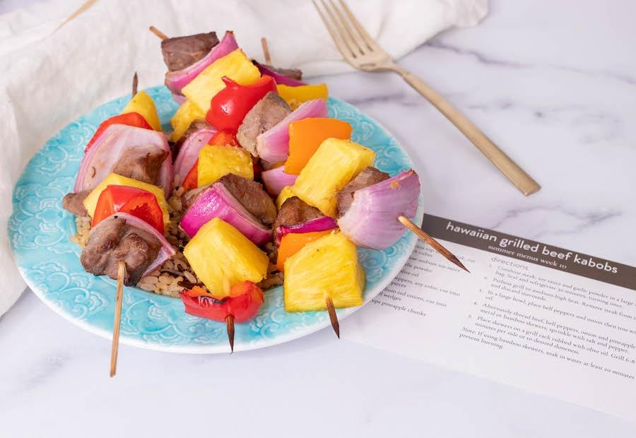 Hawaiian Beef Kabobs with Recipe Card