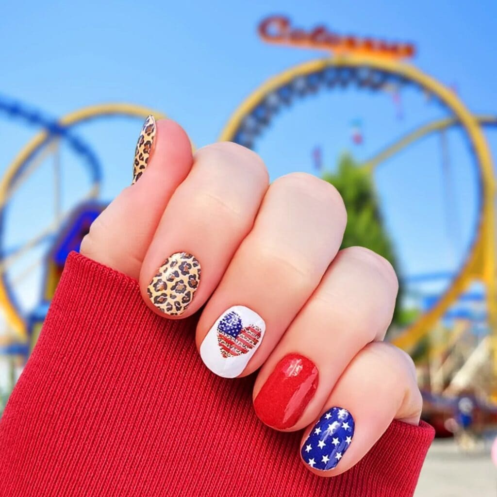 Leopard and Americana Nails