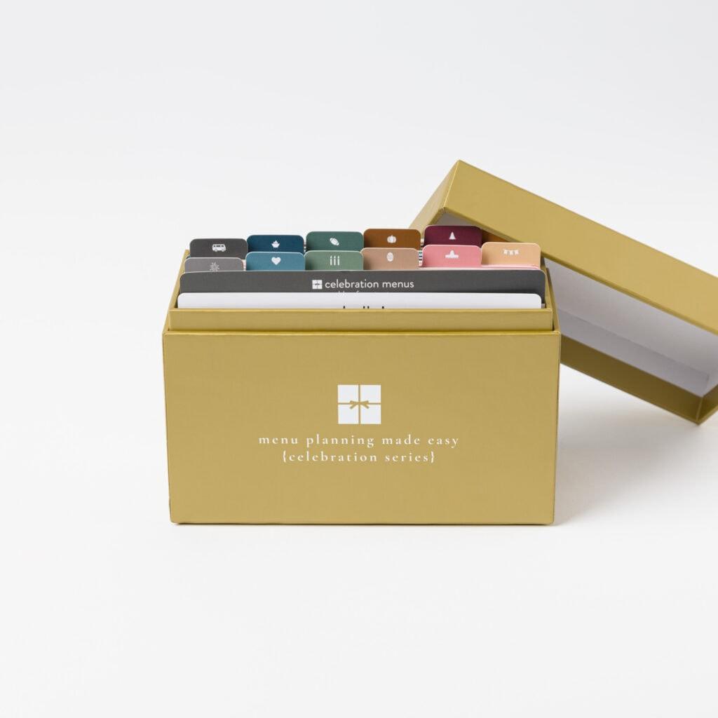 2021 Celebration Menu Plan Box with open lid