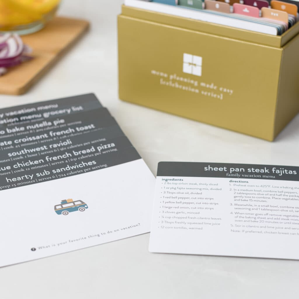 2021 Celebration Menu Plan Box with Family Vacation Cards