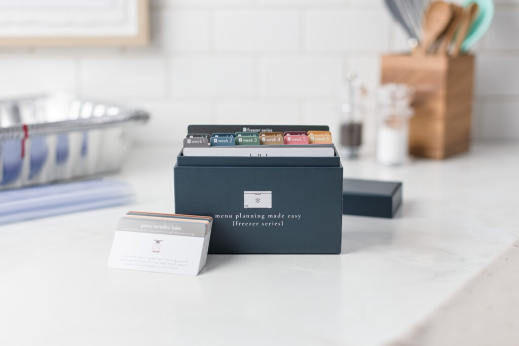 2021 Freezer Menu Box open with baby cards on counter