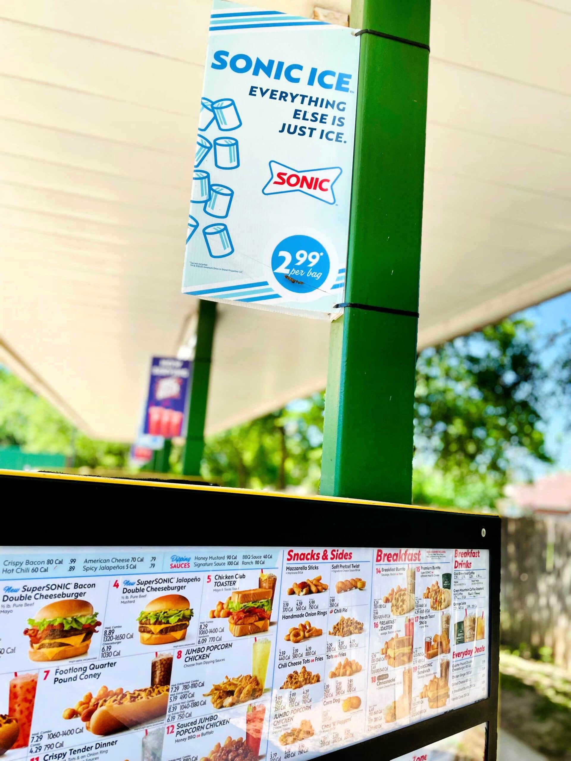 sonic menu board