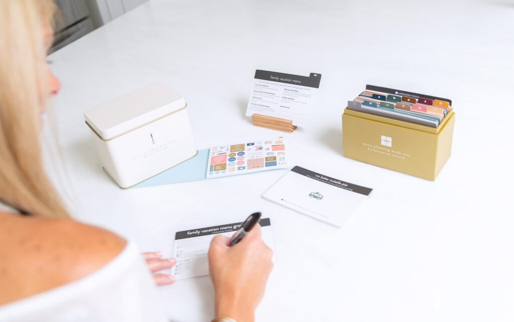 Celebration Menu Plan with block, tin & stickers