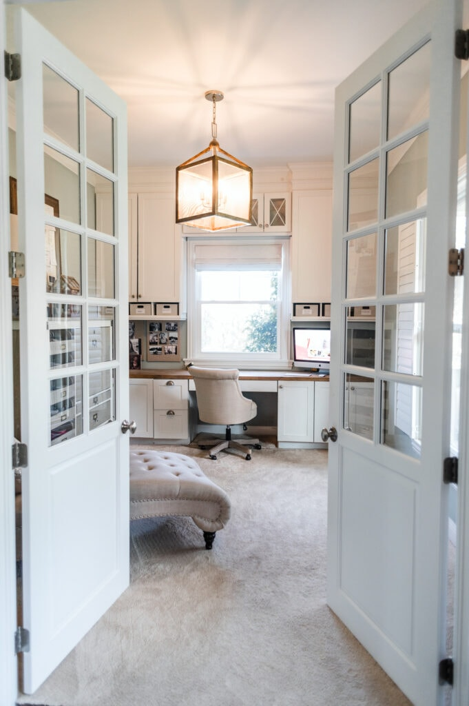 Looking into home office through french doors