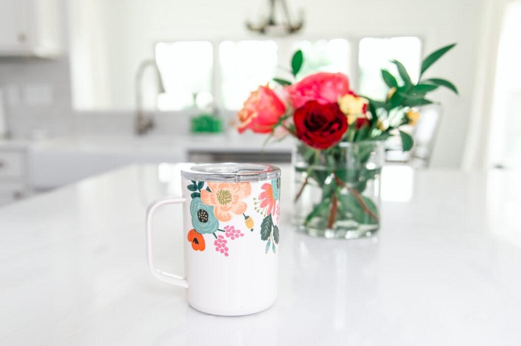 Rifle floral coffee mug on counter