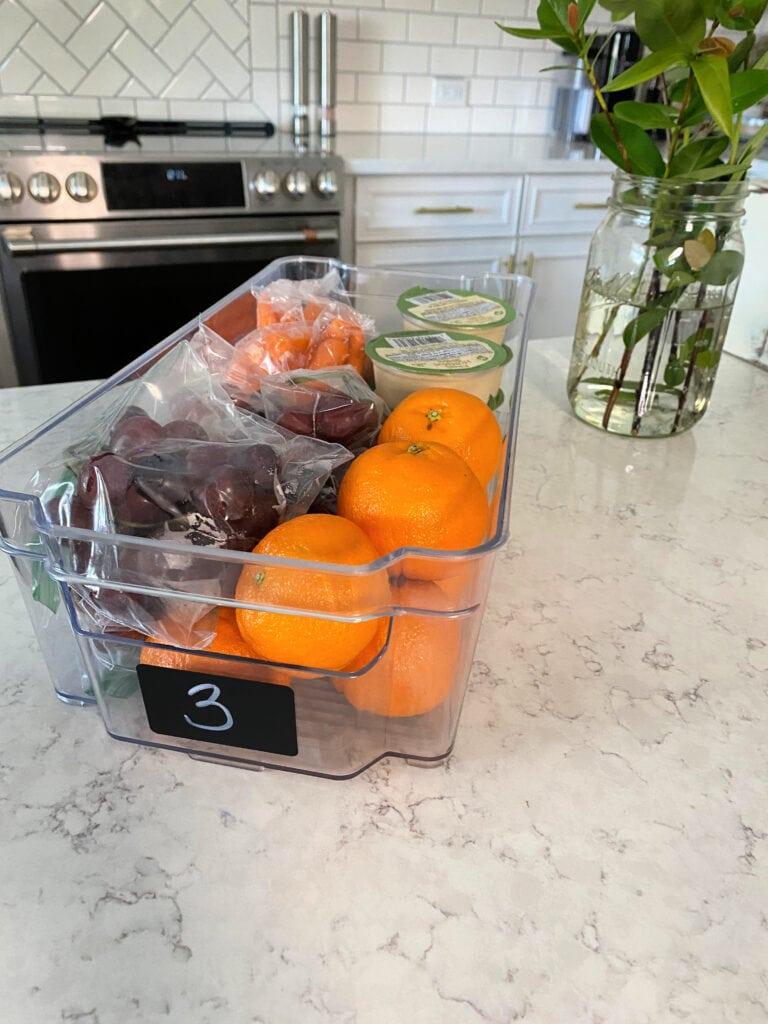 kids fridge organization snacks