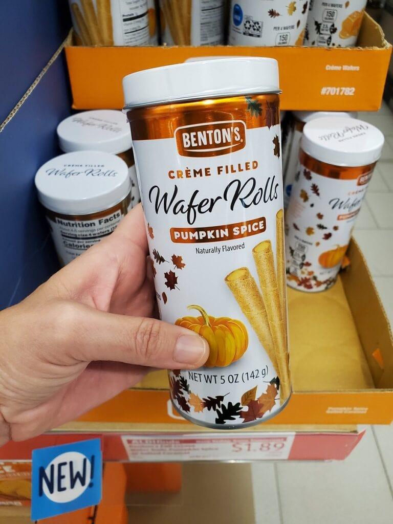 Pumpkin Spice Wafer Rolls at Aldi