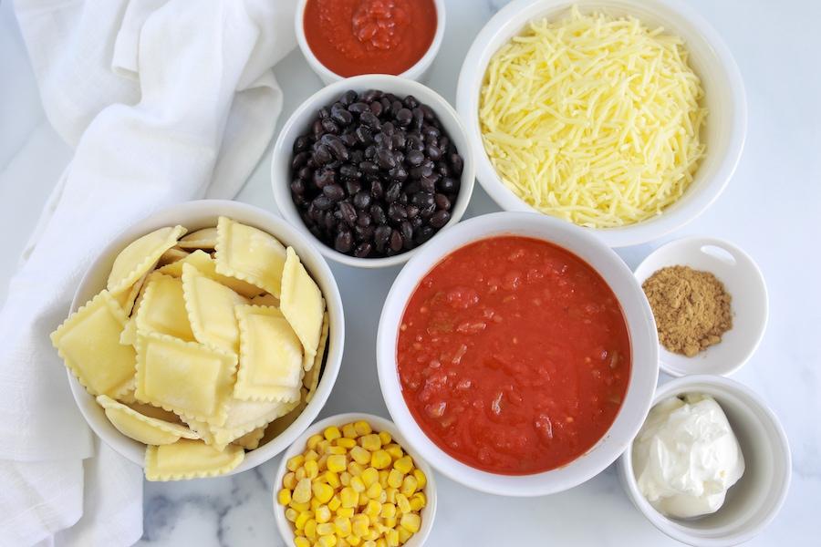 baked ravioli ingredients in bowls