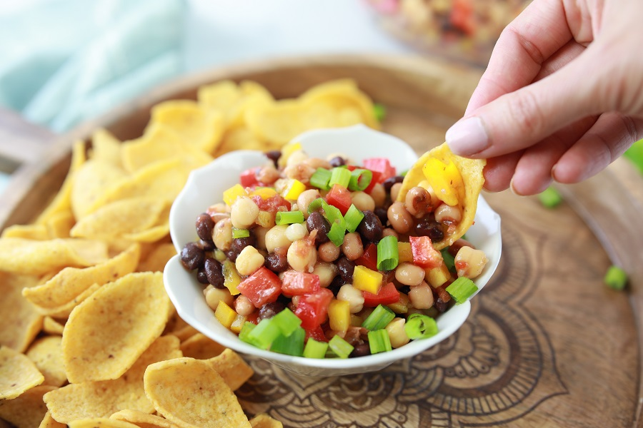 Texas Caviar Recipe Finished with Chips
